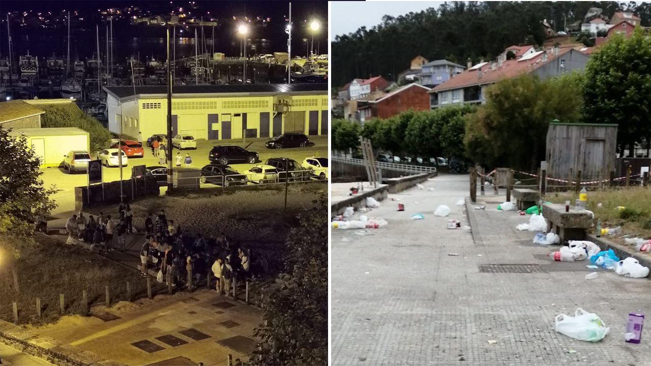 En la imagen de la izquierda, grupos de jóvenes haciendo botellón en el entorno de la playa de O Castelo. En la derecha, estado en el que queda la calle tras la noche
