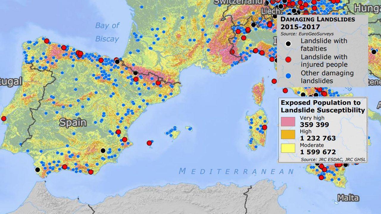 Mapa europeo realizado con el riesgo de deslizamientos