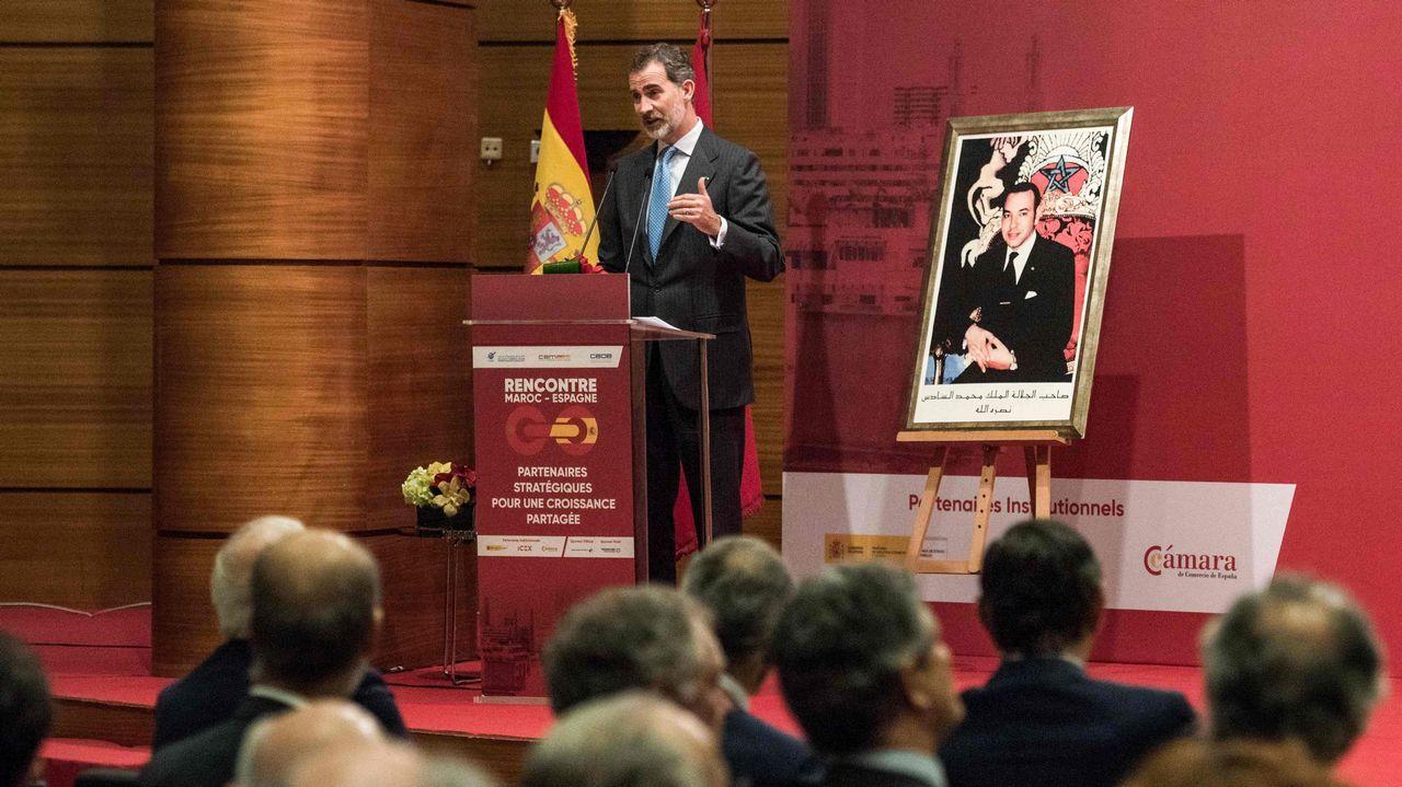 Felipe VI, en el acto de constitución del Consejo Económico Marruecos España en Rabat durante la segunda y última jornada de la visita de Estado de los reyes al país vecino, al que definió «un verdadero socio estratégico».