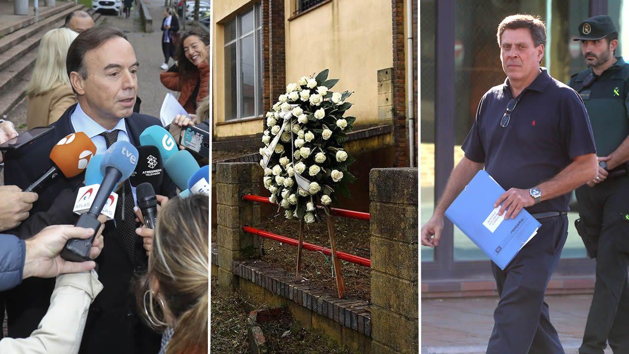 El abogado de la familia Quer en los juzgados de Fontiñas, en Santiago hablaba tras el aplazamiento del juicio mientras en la nave de Asados, en Rianxo, donde apareció el cuerpo de la joven alguien colocó una corona de rosas blancas