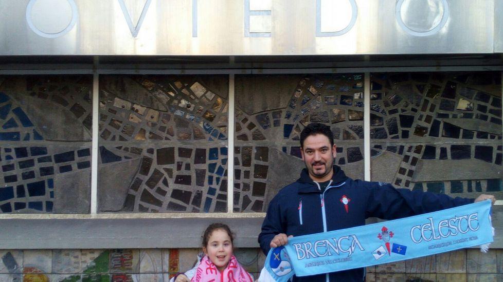 Desde Oviedo, José Costas y su hija Davinia, de la peña asturiana Brenga Celeste