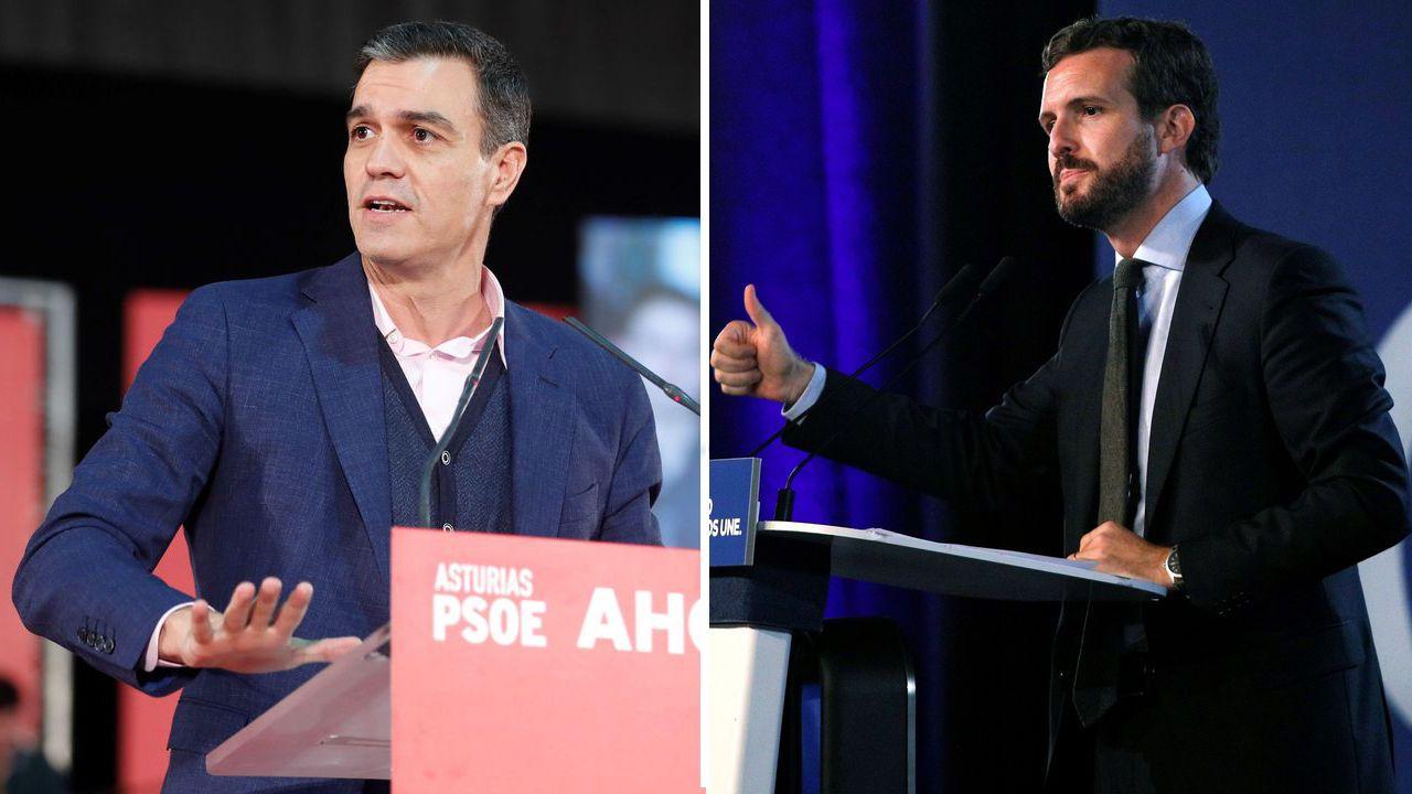 Pedro Sánchez en Gijón y Pablo Iglesias en Oviedo