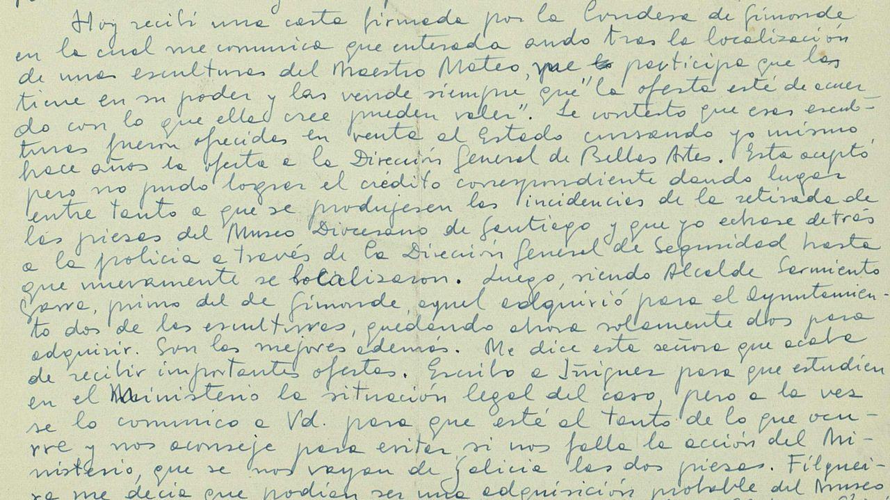 Fragmento de la carta de Chamoso en el que explica que la condesa de Ximonde vende dos esculturas y las otras dos piezas ya son propiedad del Concello de Santiago