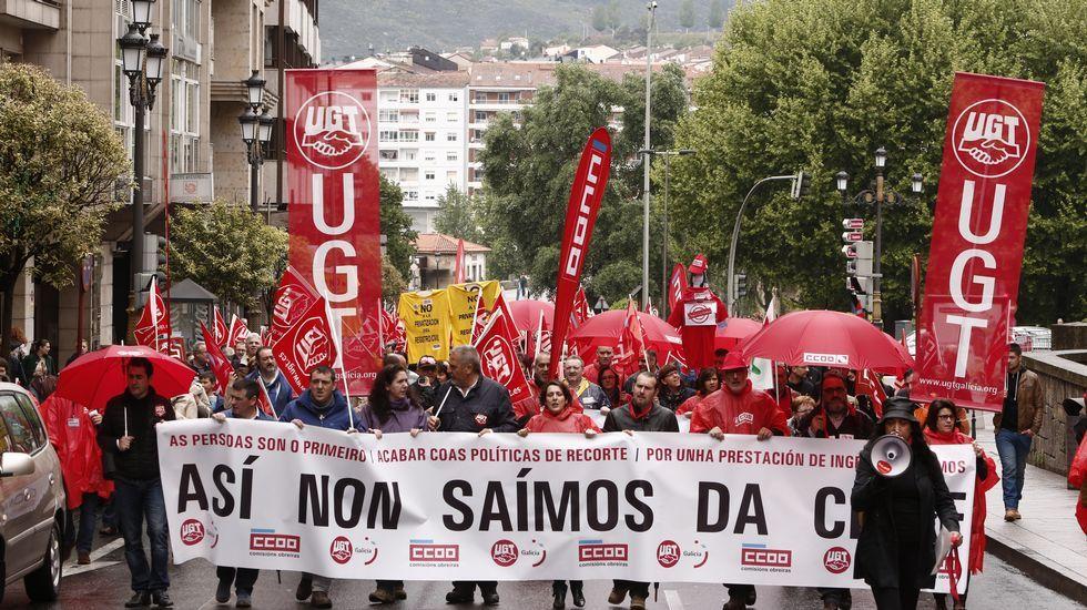 Manifestación de UGT y CC.OO. por Ourense