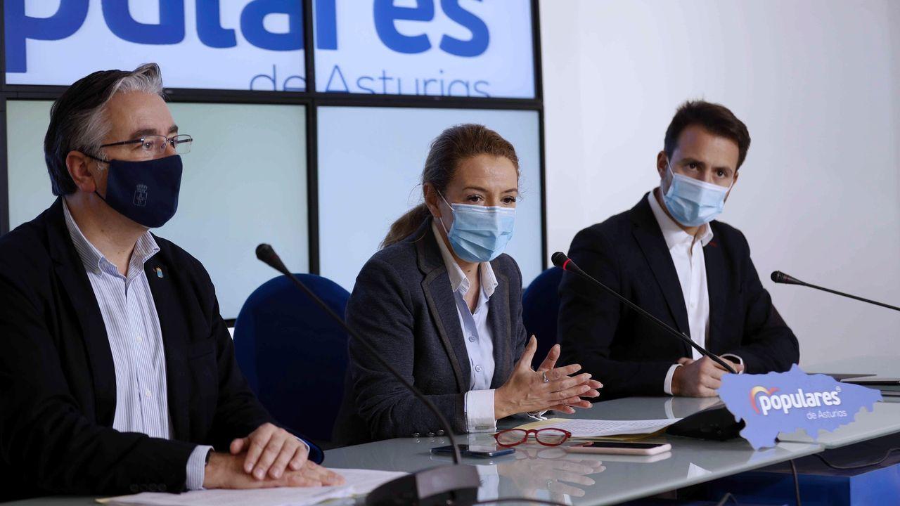La presidenta del PP asturiano, Teresa Mallada (c), durante la rueda e prensa que ofreció este lunes en la que anunció que el PP mostrará su rechazo a las cuentas elaboradas por el Ejecutivo de Adrián Barbón