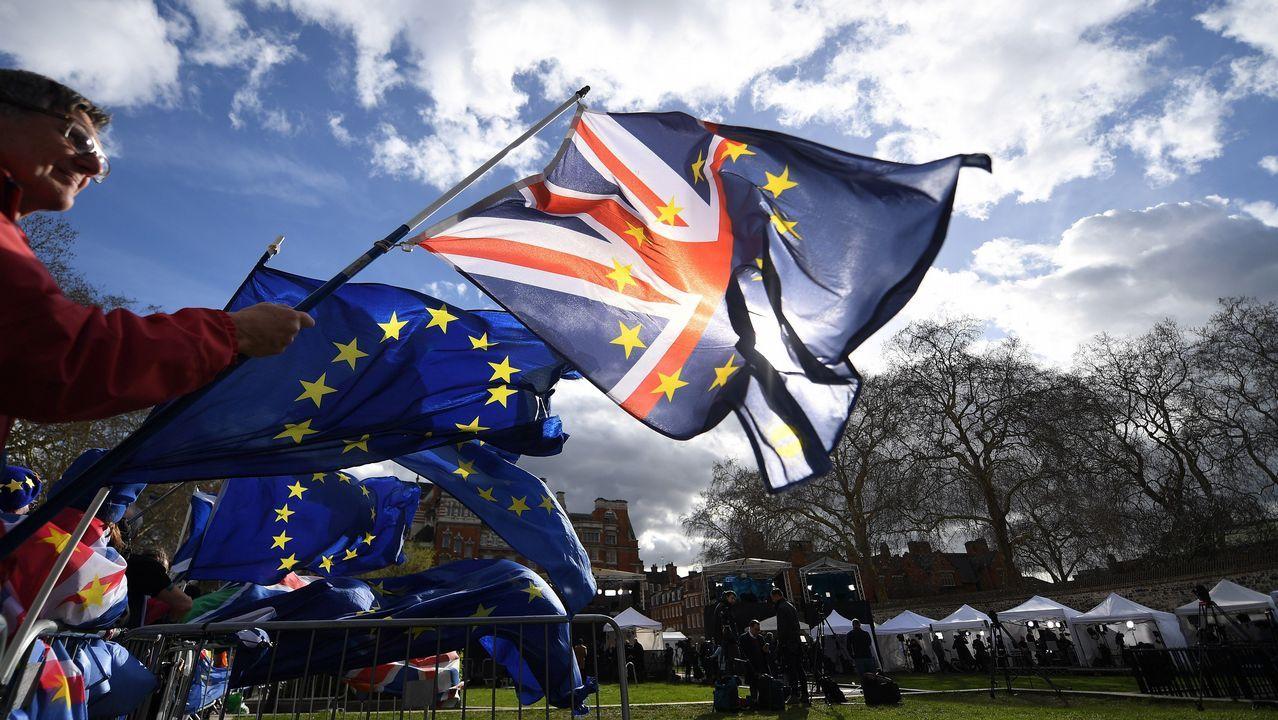 Manifestantes «antibrexit» se manifiestan en el exterior del Parlamento británico
