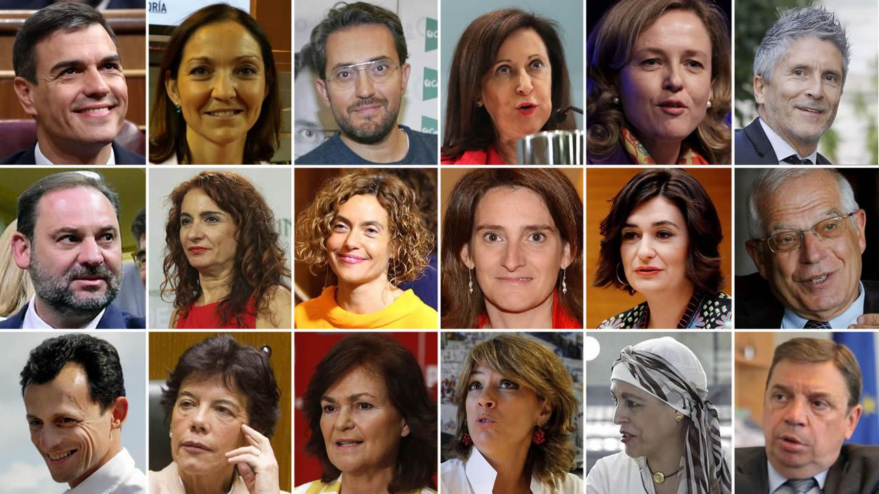 Las caras del equipo de Gobierno de Pedro Sánchez.Un castillete