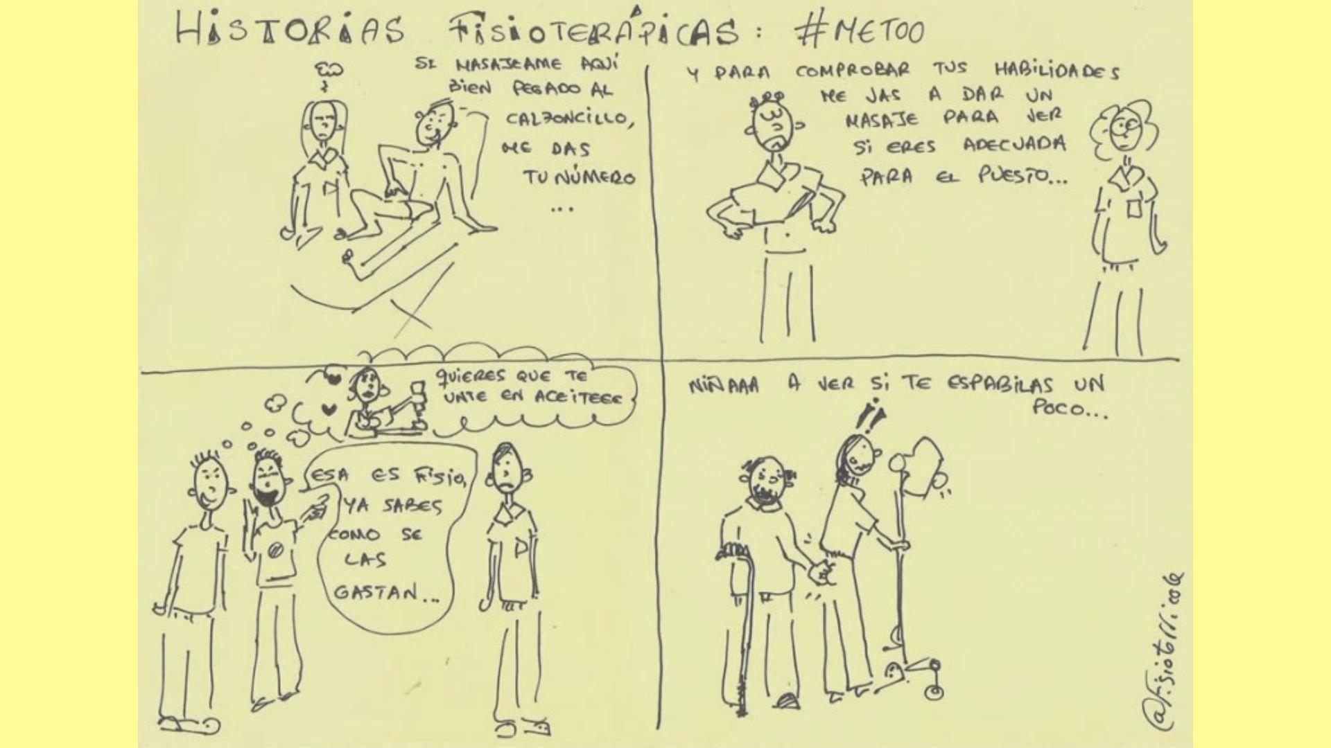 La viñeta: Este dibujo creado por la gallega Bibiana Vega fue el detonante de toda la campaña. En él se pueden leer algunas de las incómodas situaciones a las que sus compañeras tienen que hacer frente a diario