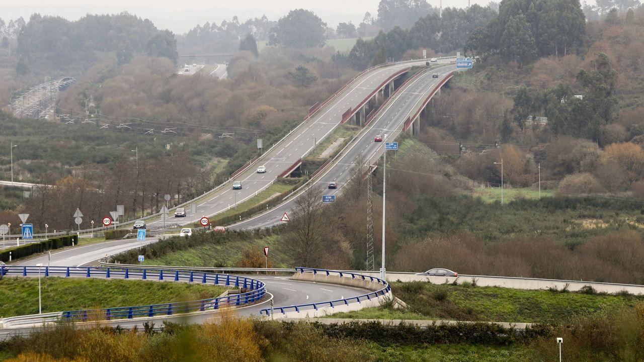 Obras en la autovía Santiago-Lugo