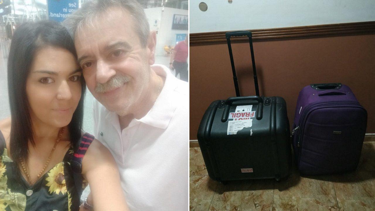 Silvia con su padre en el aeropuerto y una foto con su maleta y el aparato de diálisis con el que debe viajar