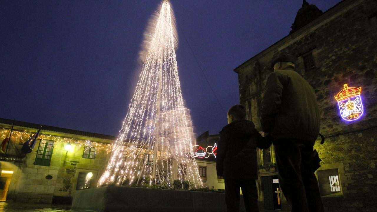 Un niño mira el árbol de Navidad situado la localidad de Melide el pasado año