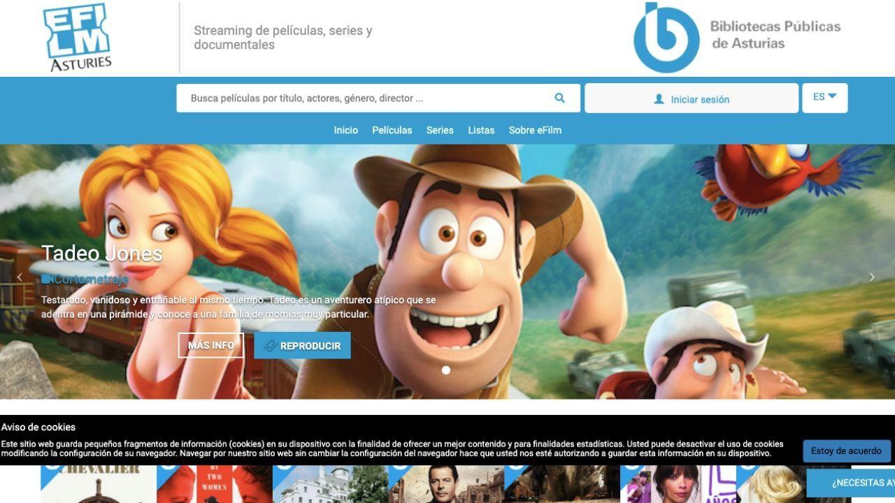 La plataforma e-Film de las bibliotecas asturianas, en la que se pueden visionar peliculas, series y documentales