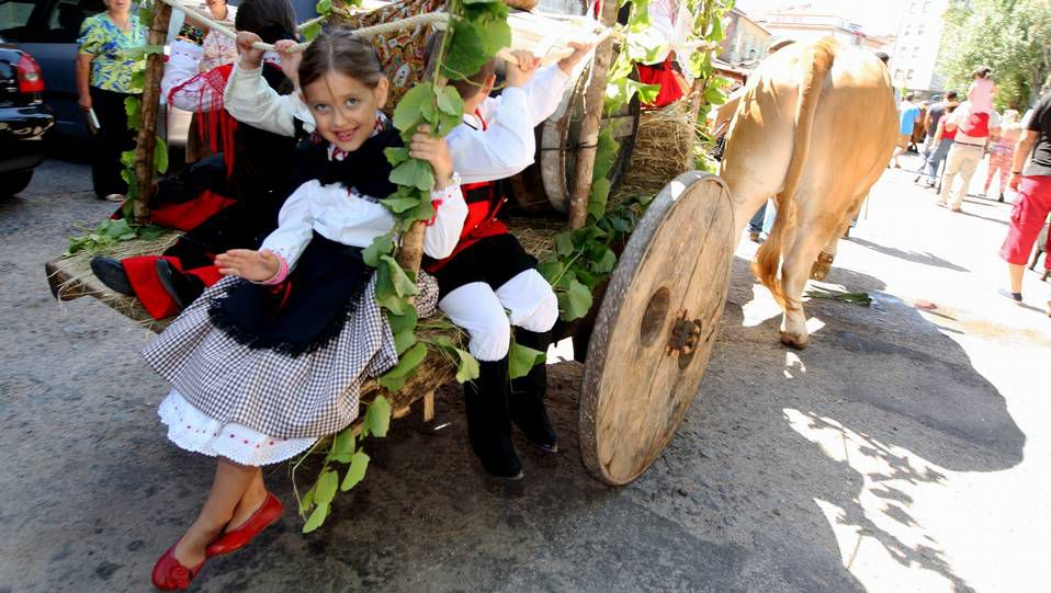 Desfile dos cabaleiros na Festa do viño Albariño, en Cambados