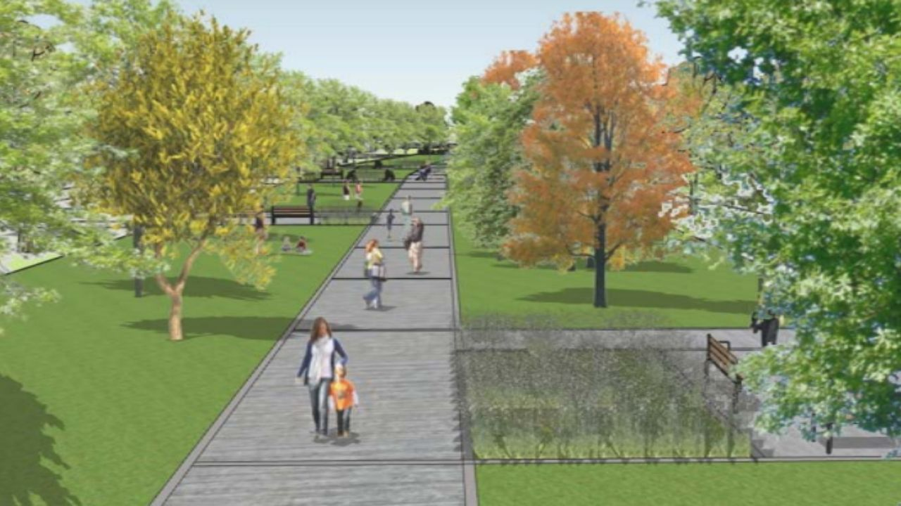 Gijon Muro de San Lorenzo corte.Infografía del nuevo espacio verde en el que se convertirá la avenida del Molinón de Gijón