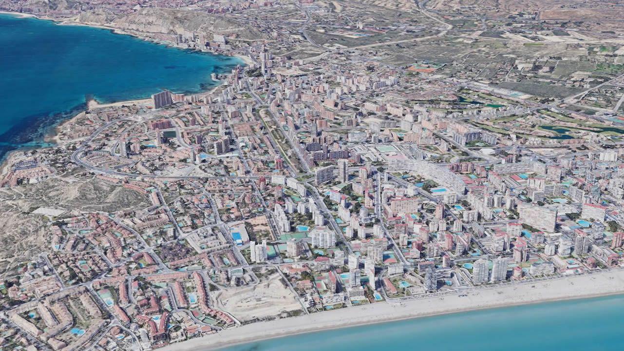 Imagen de satélite de la milla de oro en la playa alicantina de San Juan