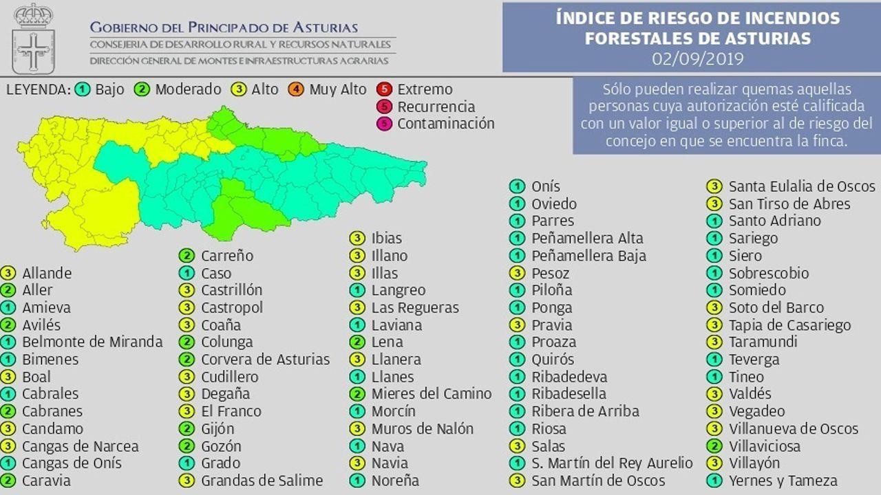 El archivo del Cinema Palacio de Pinzales.Mapa de riesgo de incendios en Asturias el 2 de septiembre de 2019