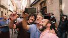 Momento durante la grabación de  Cuñados  en Ourense