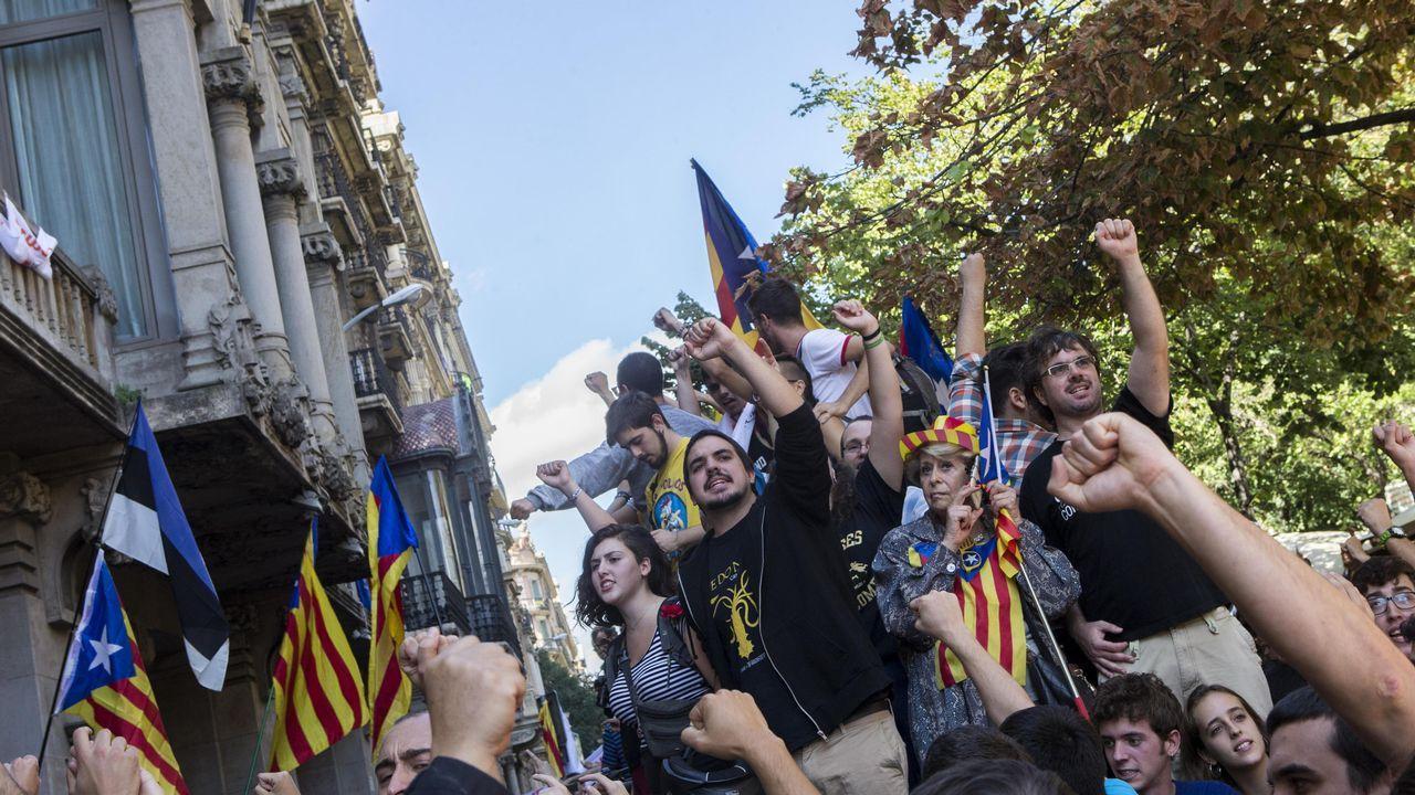 Protesta en la Gran Vía catalana