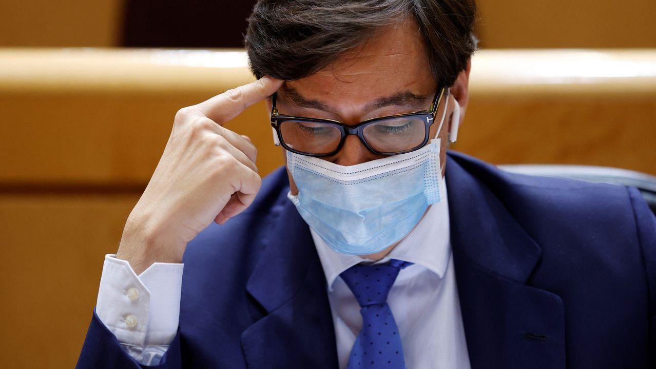 l ministro de Sanidad, Salvador Illa, durante el pleno del Senado, este martes en Madrid