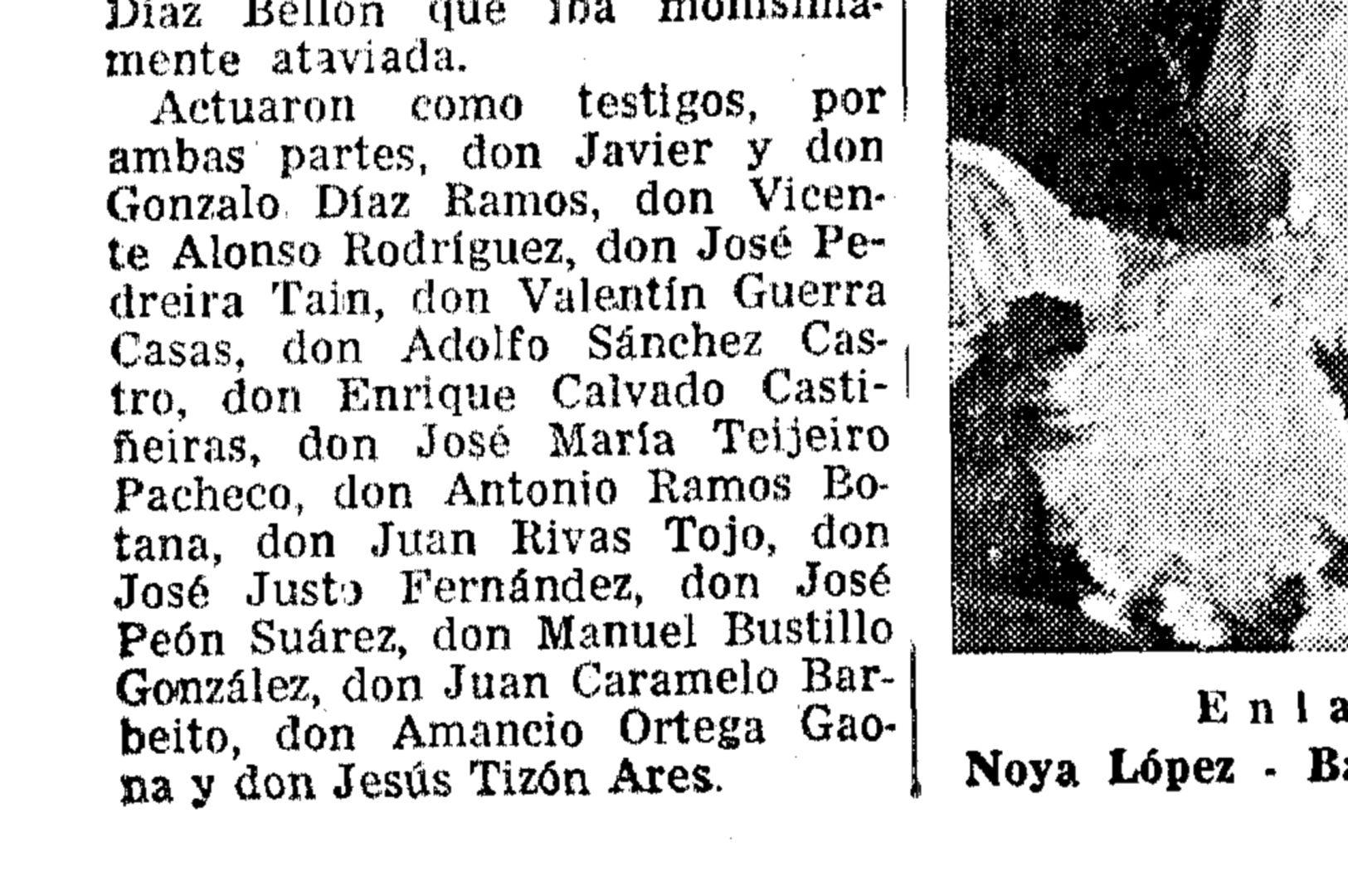 Amancio Ortega, mencionado en una publicación del 6 de octubre de 1967 como testigo de una boda