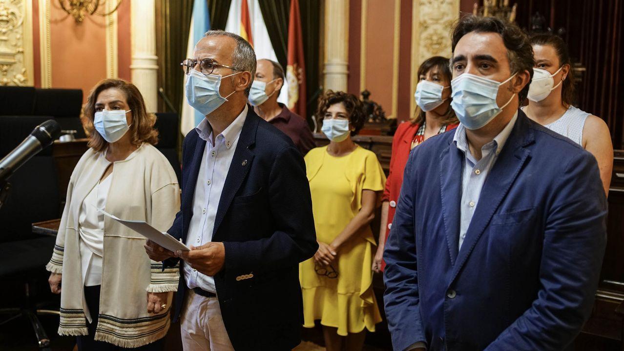 El grupo municipal del PP en su comparecencia para anunciar la salida del gobierno de Ourense