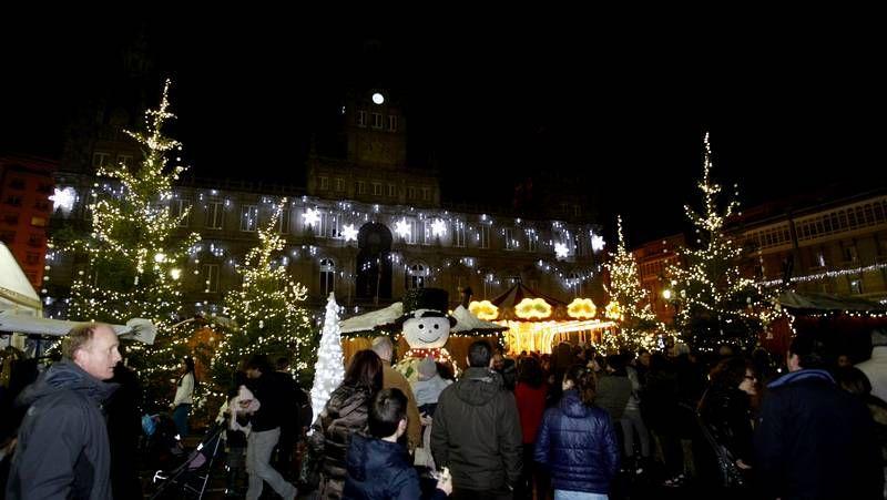 Ya es Navidad en María Pita en A Coruña