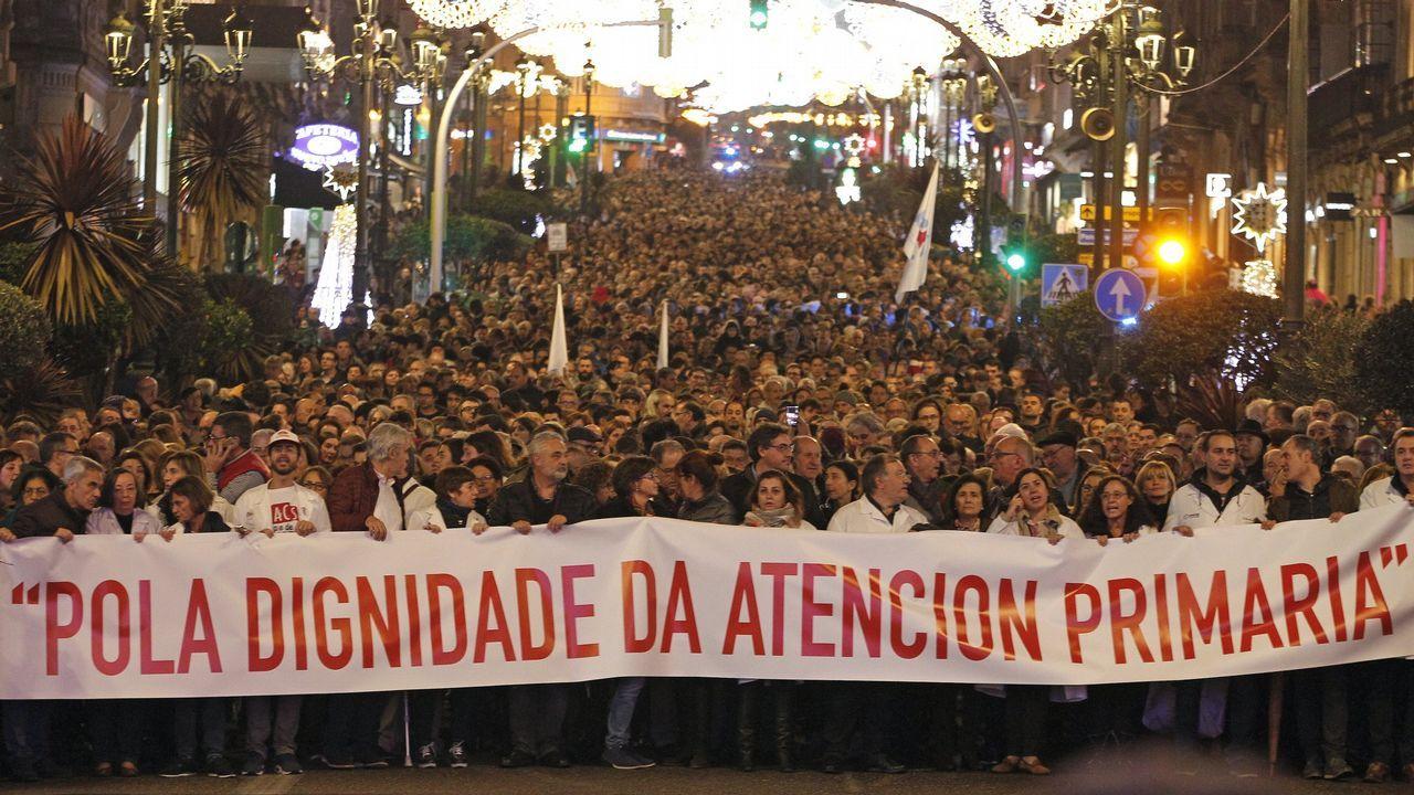Hospital de Cabueñes, en Gijón.Manifestación de diciembre en Vigo