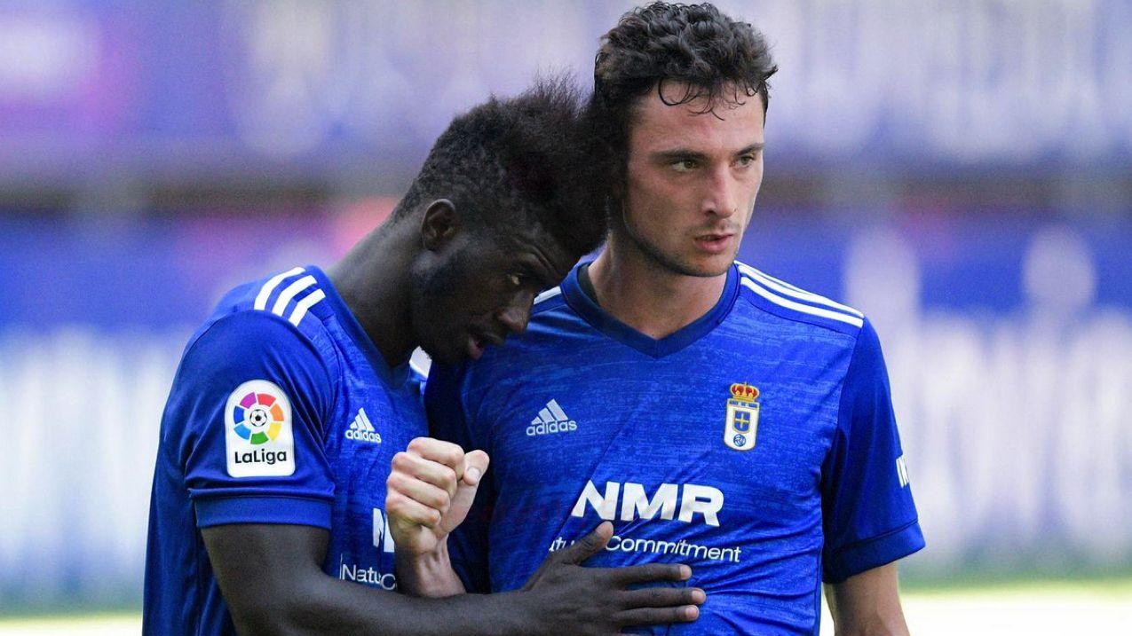 Obeng y Borja celebran un gol en el amistoso ante el Athletic