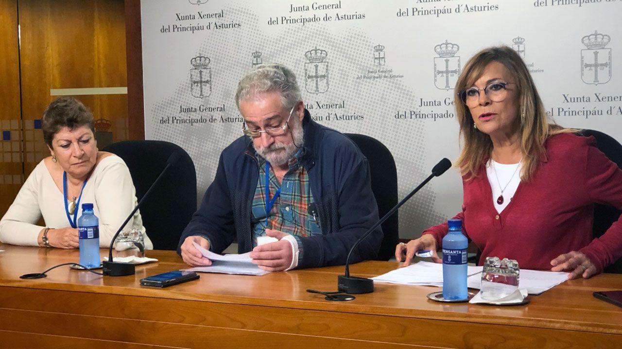 Txema Rosell, del Grupo de Inmatriculaciones, en el centro, junto a la diputada Ángela Vallina