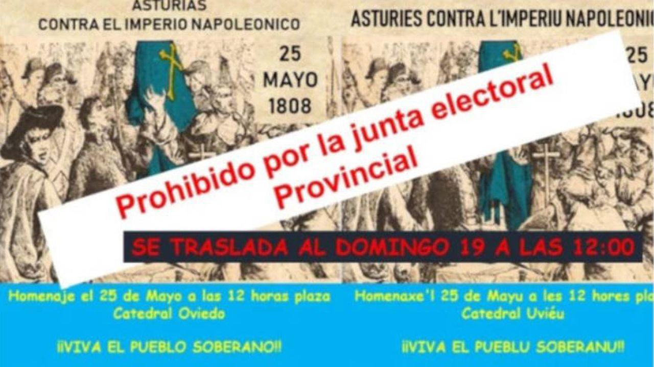 Cartel de la convocatoria del colectivo entidades memorialistas y republicanas para el homenaje cancelado a los héroes del 25 de mayo de 1808