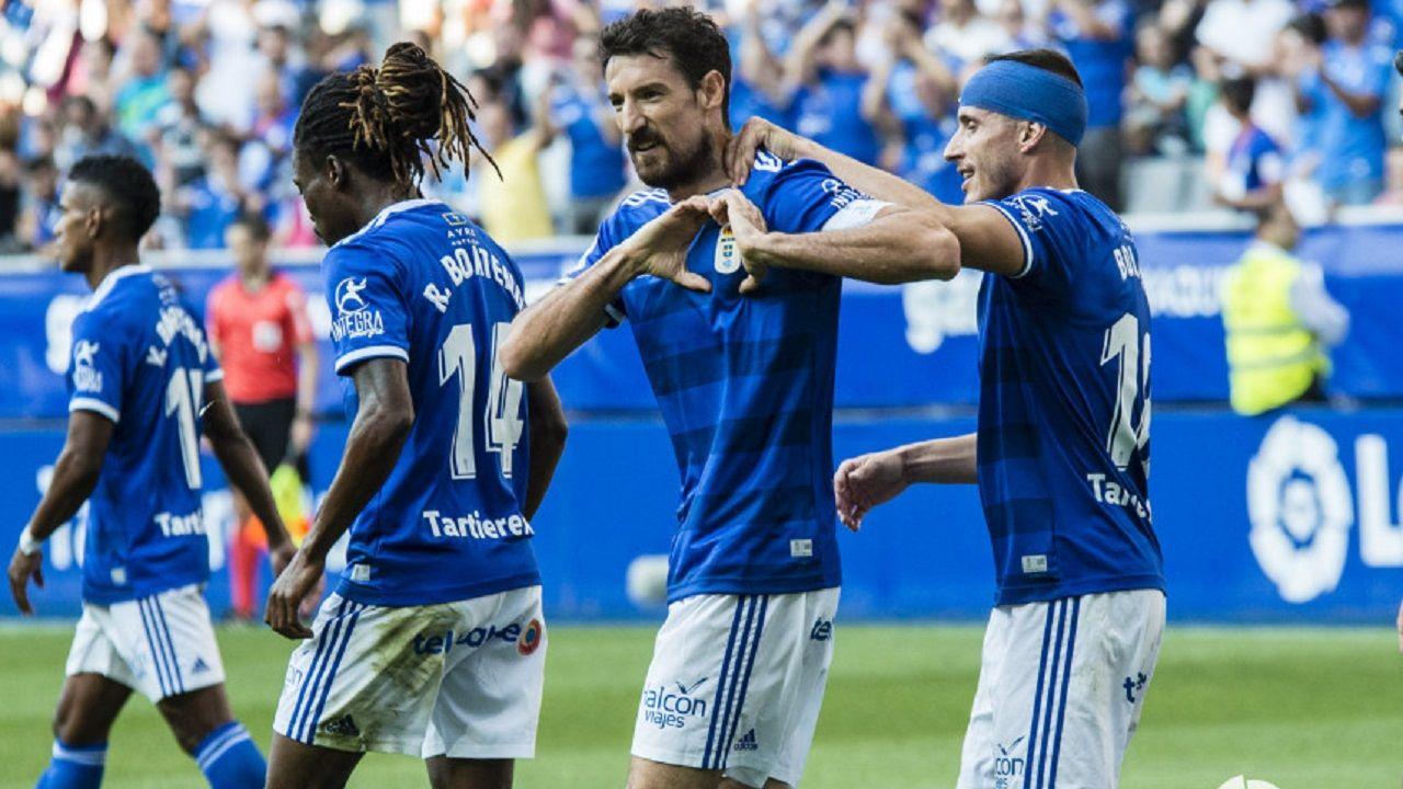 gol Fabbrini Cordoba Real Oviedo.Boateng, Toché y Bolaño celebrando el 1-0