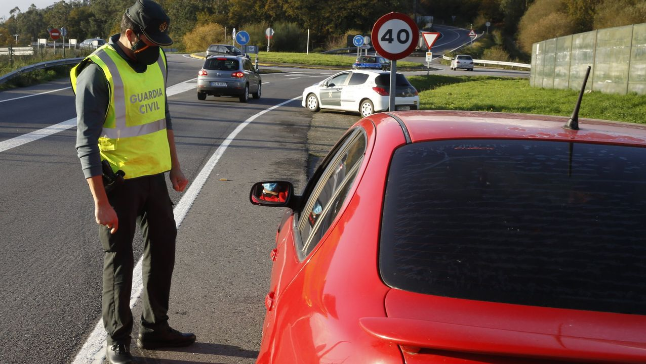 Las condiciones deplorables en las que se encuentran las vacas.Controles policiales en el acceso a Pontevedra por la avenida de Lugo