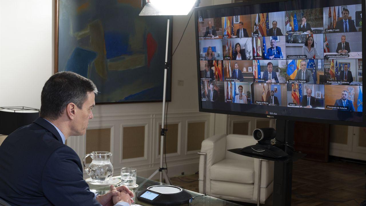 Pedro Sánchez, en la teleconferencia con los presidentes autonómicos