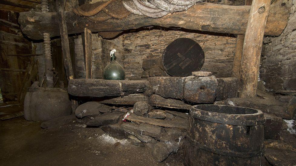 Otra vista de la prensa del molino de la Casa do Campo, que aún se utilizaba hace unos quince años