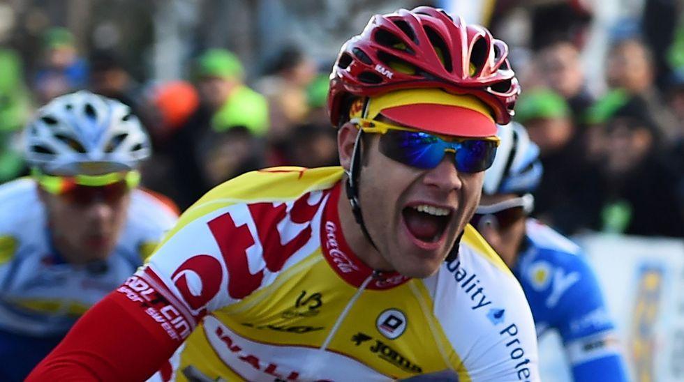 El malogrado ciclista belga Antoine Demoitie celebra su victoria en la Grand Prix de Marsella en 2015