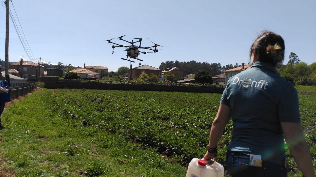 En Coirós se abona con drones.Mitin del presidente del PP, Pablo Casado, en la romería popular de Nemenzo, el pasado 14 de abril