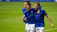 Sangalli, Tejera y ortuño celebran el 1-0 al Mirandés