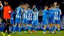 Los jugadores del Deportivo saludan a su hinchada tras el partido contra el Sanse