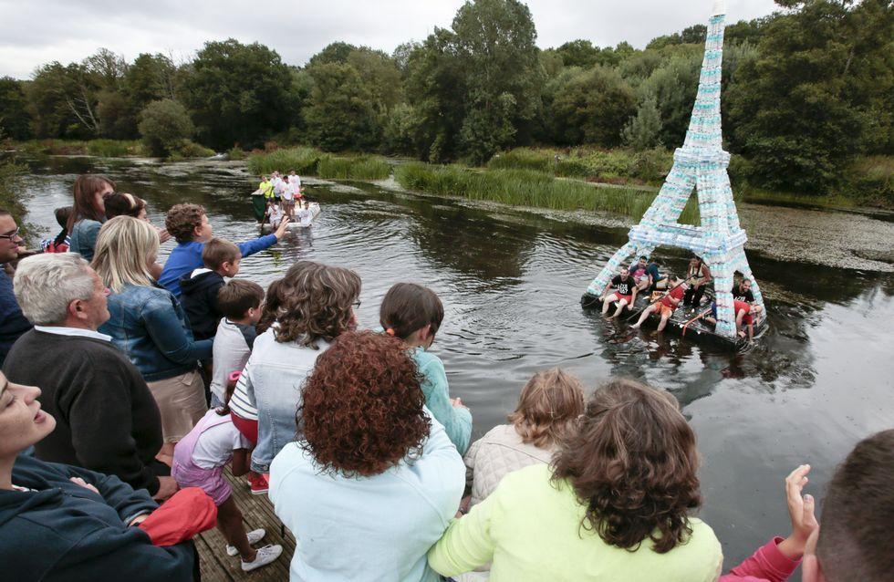Día de la Bicicleta en Rábade.La Torre Eiffel de botellas de plástico fue la más llamativa de las creaciones