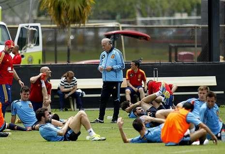 En la imagen, los jugadores de la selección en un entrenamiento en la Universidad Barry.