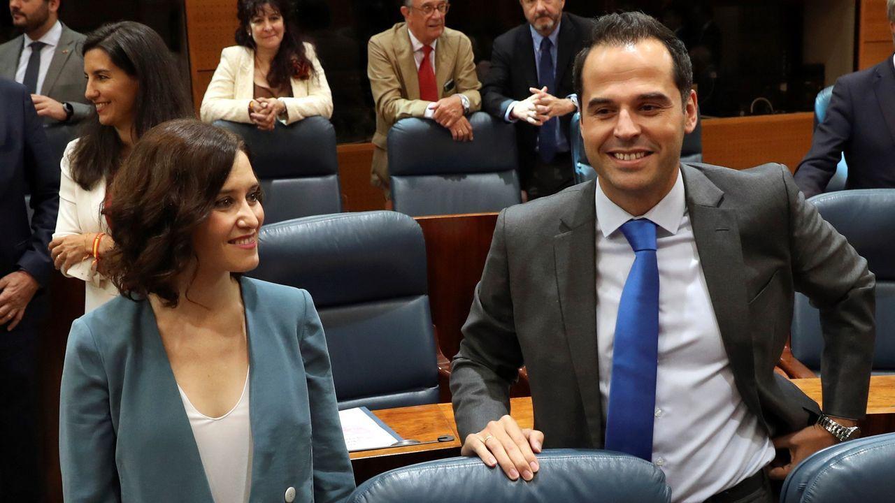 Díaz Ayuso con el portavoz de Ciudadanos en la Asamblea de Madrid, Ignacio Aguado