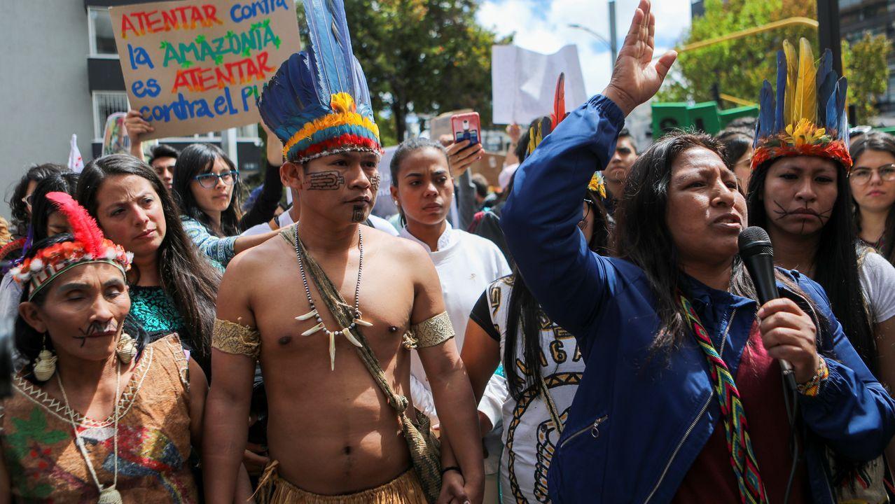 Protestas en Bogotá contra los incendios en el Amazonas