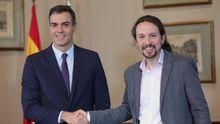 Pedro Sánchez y Pablo Iglesias comparecieron en una rueda de prensa conjunta
