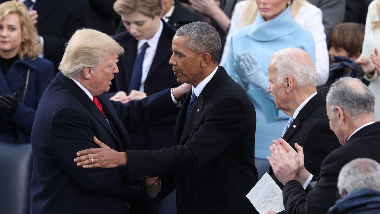 Trump recibe el saludo de Obama, en su toma de posesión el 20 de enero del 2017