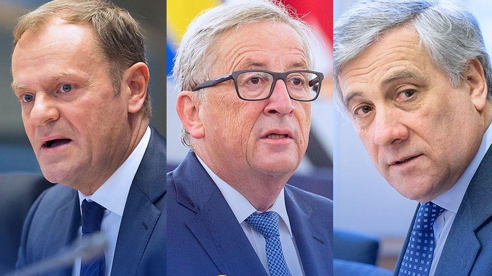 Donald Tusk, Jean Claude Juncker y Antonio Tajani