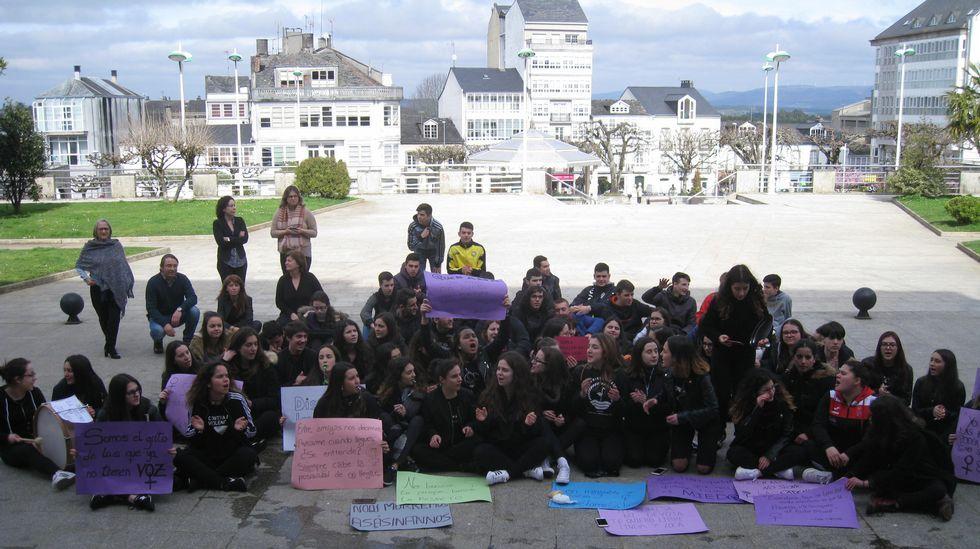 Concentración por el Día de la Mujer Trabajadora en Monforte.Manifestación en Monforte