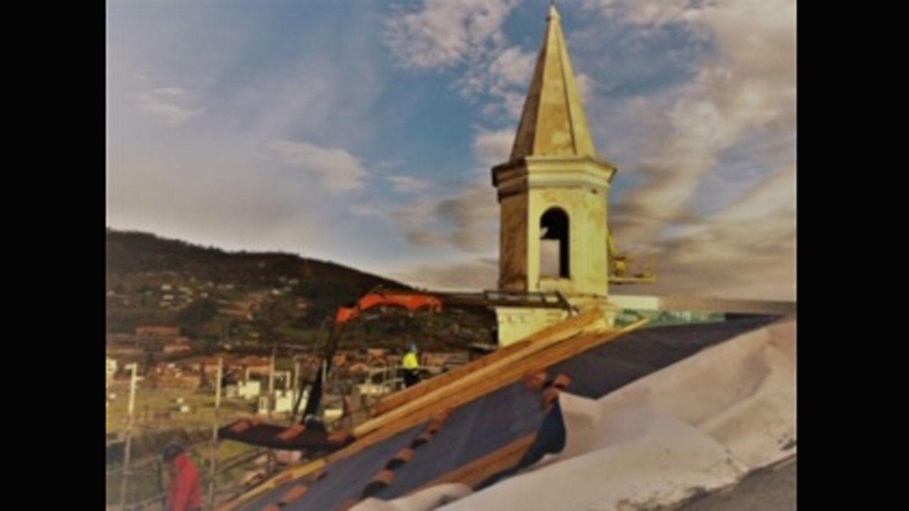 Reparación de la cubierta de la capilla de La Cadellada, en Oviedo