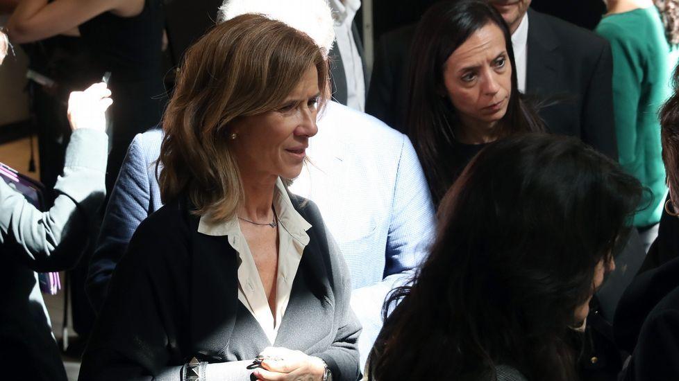 La exministra Cristina Garmendia en la sede del PSOE.