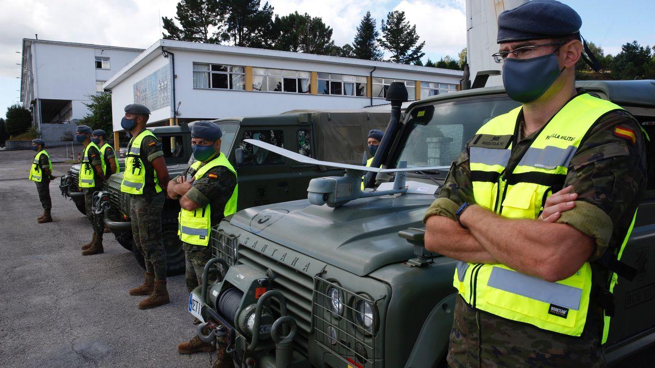 Presentación de la Operación Centinela en la Brilat de Pontevedra, con un dron antiincendios