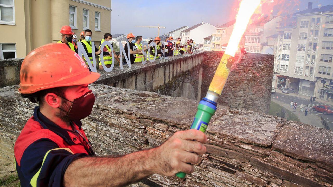 El 12 de septiembre del 2020 los trabajadores de Alcoa visibilizan su protesta en la Muralla de Lugo